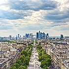 La Defense business area, Grande Armee avenue. Paris, France